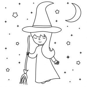 Planse De Colorat Cu Vrajitoare De Halloween Colorica
