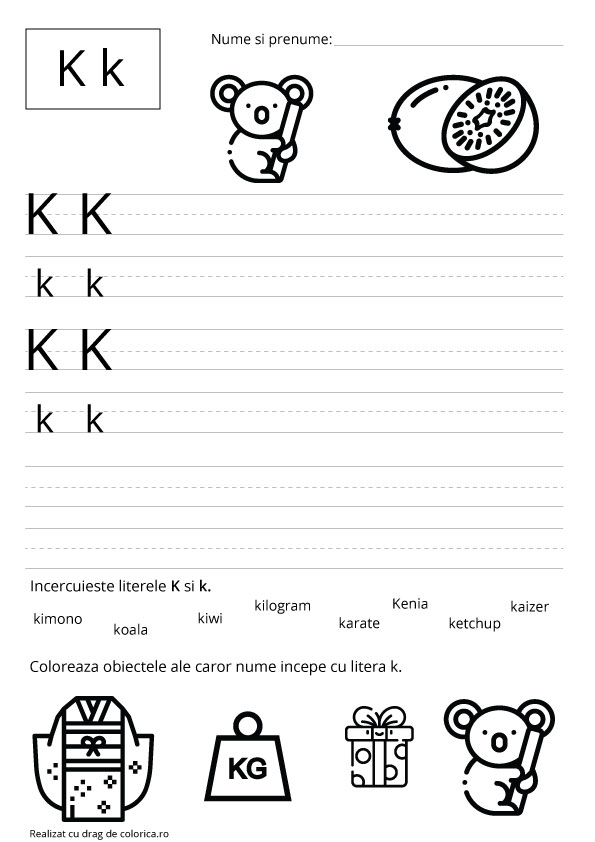 Descarca fisa de lucru cu litera K - colorica.ro